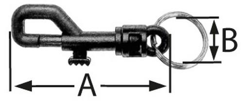 10 Kunststoff Karabinerhaken mit Schnapper 58 mm mit Schlüsselring 20 mm