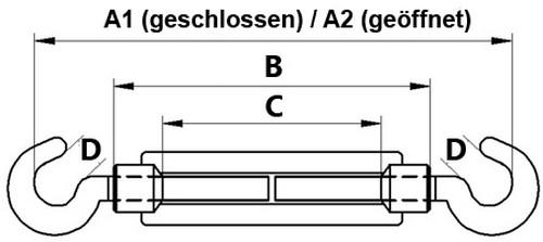 10 Stück Spannschloss M8 x 110mm Haken Haken DIN 1480 verzinkt Seilspanner