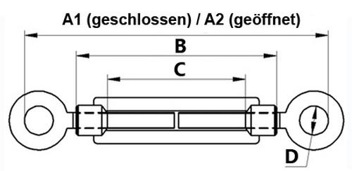 Öse DIN 1480 verzinkt Seilspanner 10 Stück Spannschloss M12 x 125mm Haken