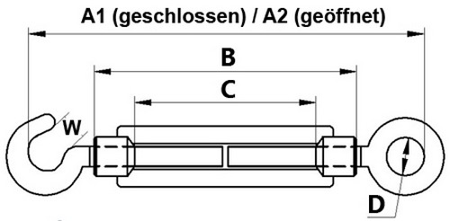 Seilspanner M12 Spannschloss Spannschraube Edelstahl V4A Drahtseil Rostfrei Niro