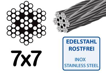 Drahtseil 2,0mm Edelstahl 7x7 Stahlseil Windenseil Seil Draht ...
