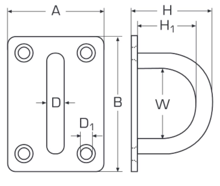 Augplatte 30mm x 5mm Edelstahl A2 Rechteck gestanzt und geschweisst ...