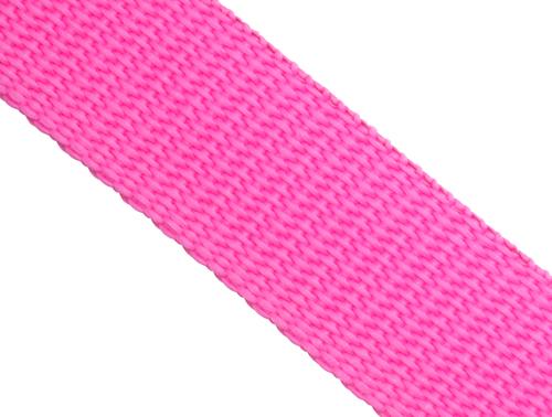 10m Gurtband 25mm Breit ca stark leuchtend Rosa Pink Polypropylen 1,6mm stark